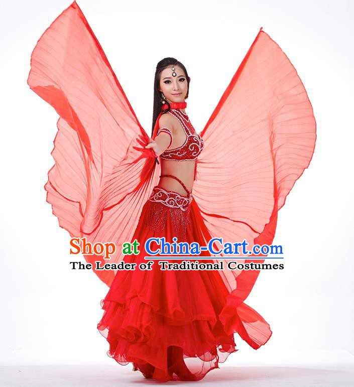 Indian Traditional Belly Dance Red Wings India Raks Sharki Props for Women
