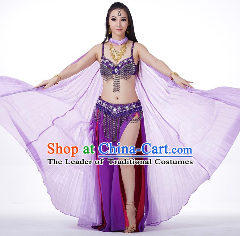 Indian Traditional Belly Dance Purple Wings India Raks Sharki Props for Women