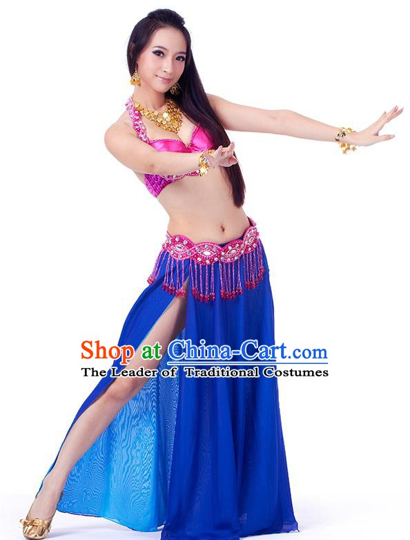 Traditional Indian Belly Dance Royalblue Dress India Oriental Dance Clothing for Women