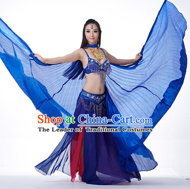Indian Traditional Belly Dance Royalblue Wings India Raks Sharki Props for Women