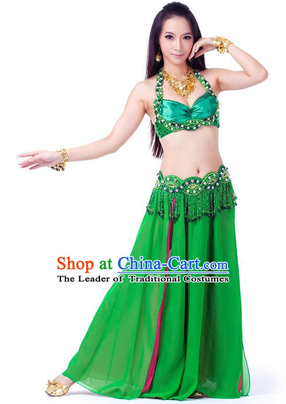 Traditional Indian Belly Dance Green Dress India Oriental Dance Clothing for Women
