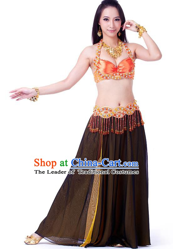 Traditional Indian Belly Dance Black and Yellow Dress India Oriental Dance Clothing for Women