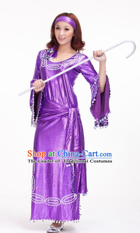 Traditional Romany Performance Purple Dress Oriental Dance Belly Dance Costume for Women