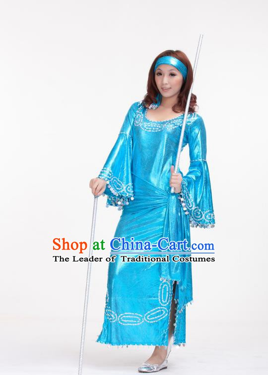 Traditional Romany Performance Light Blue Dress Oriental Dance Belly Dance Costume for Women