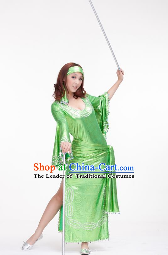 Traditional Romany Performance Green Dress Oriental Dance Belly Dance Costume for Women