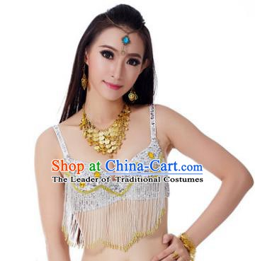 Indian Belly Dance Crystal White Brassiere Asian India Oriental Dance Costume for Women