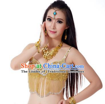 Indian Belly Dance Crystal Golden Brassiere Asian India Oriental Dance Costume for Women