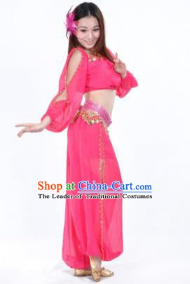 Traditional Bollywood Dance Performance Rosy Clothing Indian Dance Belly Dance Costume for Women