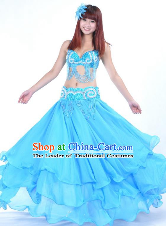 Traditional Bollywood Dance Blue Dress Indian Dance Belly Dance Costume for Women