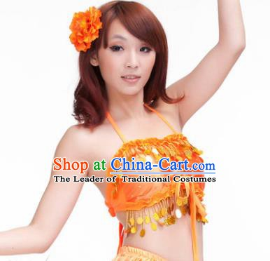 Indian Belly Dance Orange Garter Brassiere Asian India Oriental Dance Costume for Women
