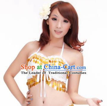 Indian Belly Dance White Garter Brassiere Asian India Oriental Dance Costume for Women