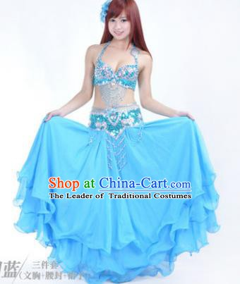 Traditional Indian Bollywood Belly Dance Blue Dress India Oriental Dance Costume for Women