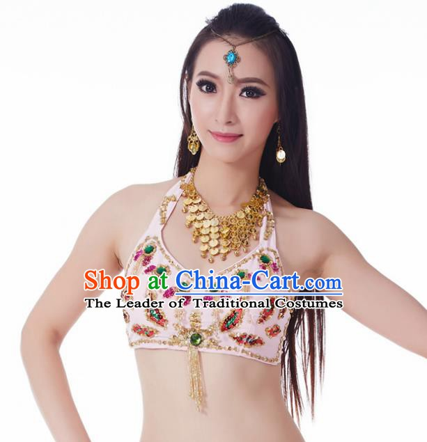 Indian Belly Dance Pink Brassiere Upper Outer Garment Asian India Oriental Dance Costume for Women