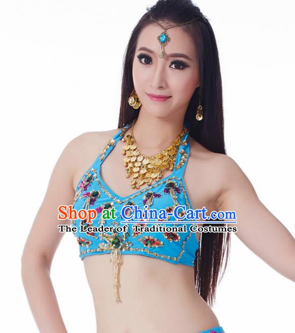 Indian Belly Dance Blue Brassiere Upper Outer Garment Asian India Oriental Dance Costume for Women