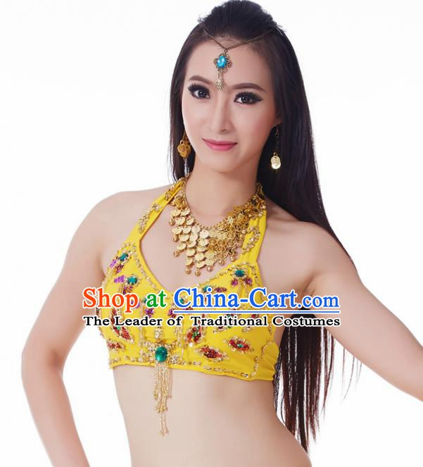 Indian Belly Dance Yellow Brassiere Upper Outer Garment Asian India Oriental Dance Costume for Women
