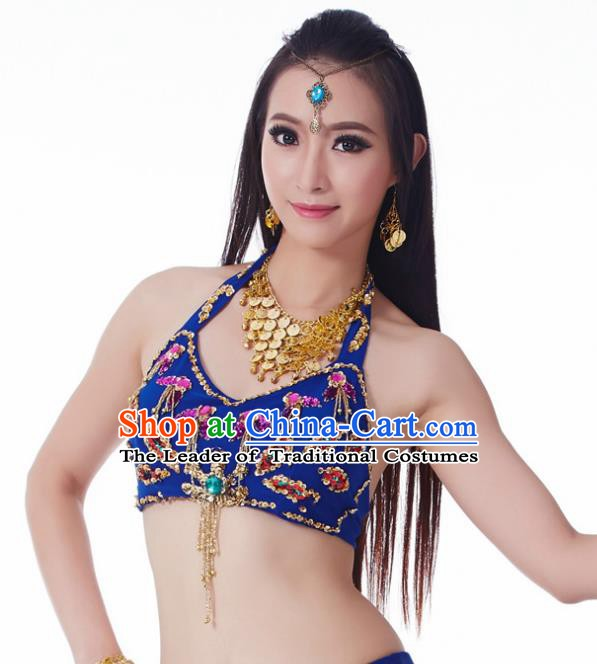Indian Belly Dance Royalblue Brassiere Upper Outer Garment Asian India Oriental Dance Costume for Women