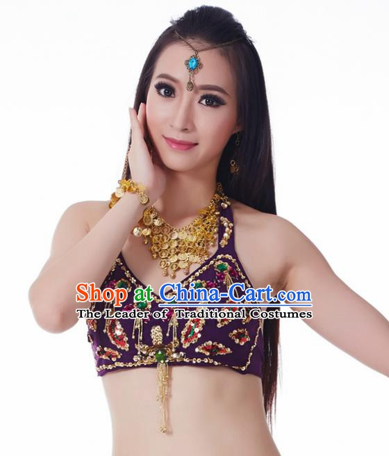 Indian Belly Dance Purple Brassiere Upper Outer Garment Asian India Oriental Dance Costume for Women
