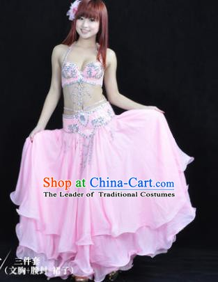 Traditional Indian Bollywood Belly Dance Pink Dress India Oriental Dance Costume for Women