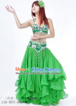 Traditional Indian Bollywood Belly Dance Green Dress India Oriental Dance Costume for Women