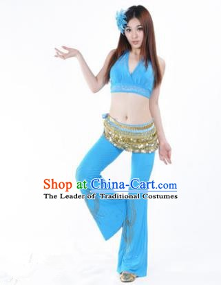 Traditional Performance Bollywood Dance Blue Uniforms Indian Belly Dance Costume for Women