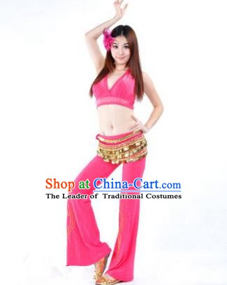 Traditional Performance Bollywood Dance Rosy Uniforms Indian Belly Dance Costume for Women