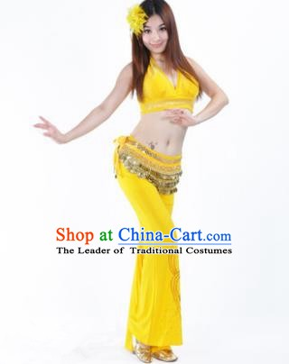Traditional Performance Bollywood Dance Yellow Uniforms Indian Belly Dance Costume for Women