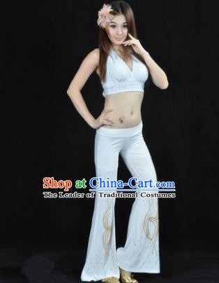 Traditional Performance Bollywood Dance White Uniforms Indian Belly Dance Costume for Women