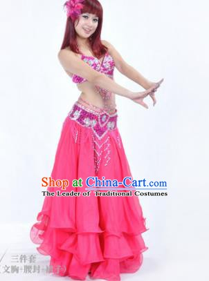 Traditional Indian Bollywood Belly Dance Rosy Dress India Oriental Dance Costume for Women