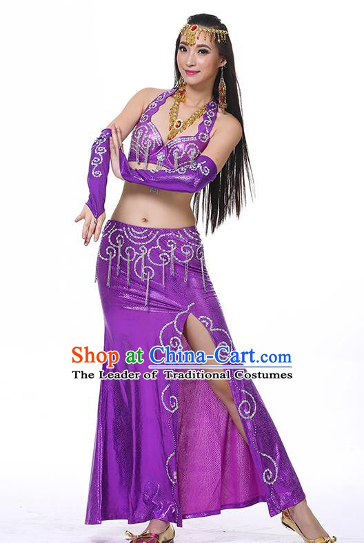 Traditional Oriental Dance Performance Purple Dress Indian Belly Dance Costume for Women