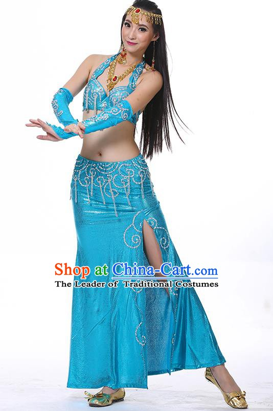 Traditional Oriental Dance Performance Blue Dress Indian Belly Dance Costume for Women