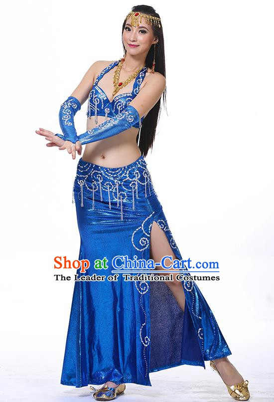 Traditional Oriental Dance Performance Royalblue Dress Indian Belly Dance Costume for Women