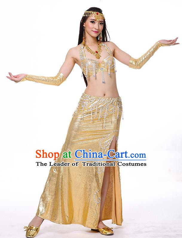 Traditional Oriental Dance Performance Golden Dress Indian Belly Dance Costume for Women