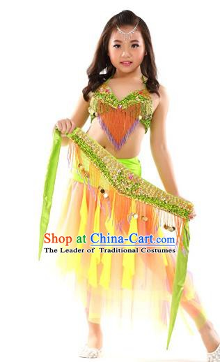 Traditional Oriental Dance Yellow and Orange Dress Indian Belly Dance Costume for Kids