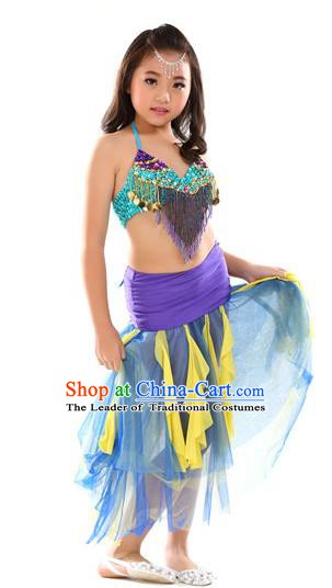 Traditional Oriental Dance Blue and Purple Dress Indian Belly Dance Costume for Kids