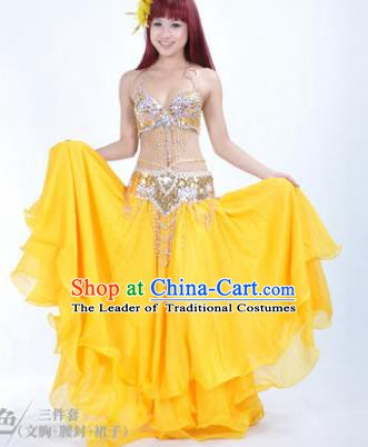 Traditional Indian Bollywood Belly Dance Yellow Dress India Oriental Dance Costume for Women