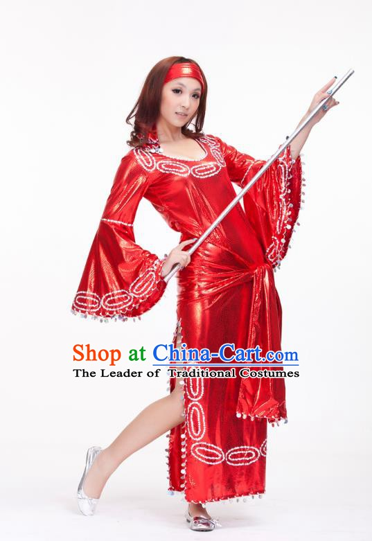 Traditional Romany Performance Red Dress Oriental Dance Belly Dance Costume for Women