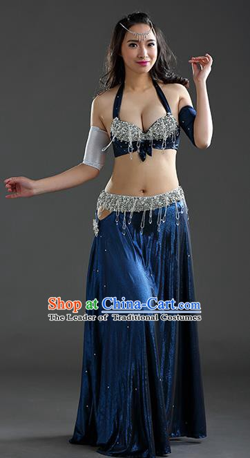 Traditional Egypt Dance Peacock Blue Dress India Oriental Belly Dance Costume for Women