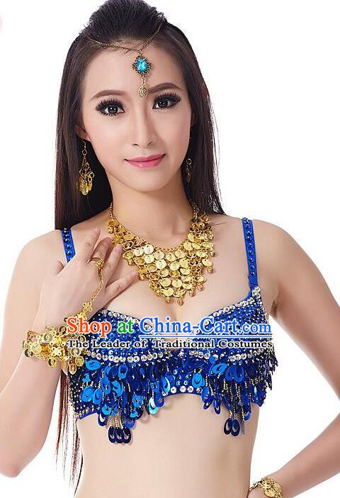 Indian Bollywood Belly Dance Royalblue Sequin Brassiere Asian India Oriental Dance Costume for Women