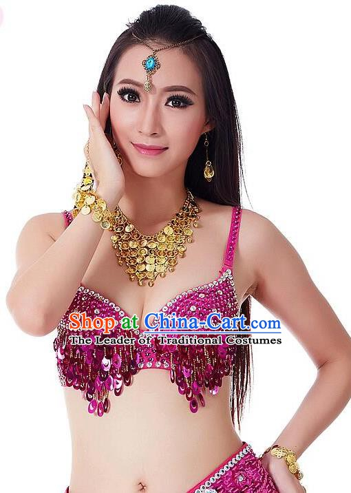 Indian Bollywood Belly Dance Rosy Sequin Brassiere Asian India Oriental Dance Costume for Women