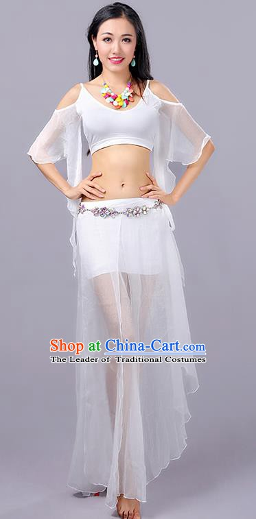 Traditional Indian Stage Performance White Costume Oriental Belly Dance Clothing for Women