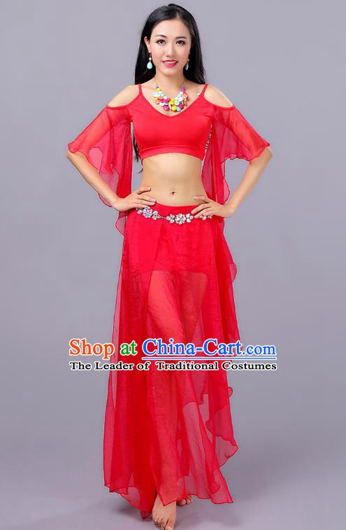 Traditional Indian Stage Performance Red Costume Oriental Belly Dance Clothing for Women