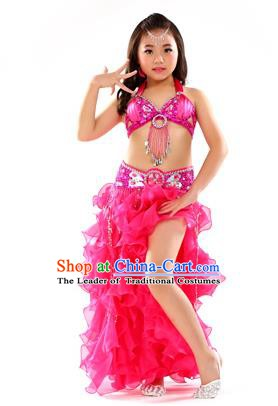 Traditional Indian Children Stage Performance Rosy Dress Oriental Belly Dance Costume for Kids