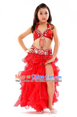 Traditional Indian Children Stage Performance Red Dress Oriental Belly Dance Costume for Kids