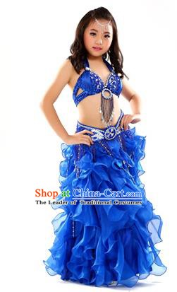 Traditional Indian Children Stage Performance Royalblue Dress Oriental Belly Dance Costume for Kids