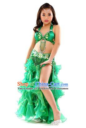 Traditional Indian Children Stage Performance Green Dress Oriental Belly Dance Costume for Kids