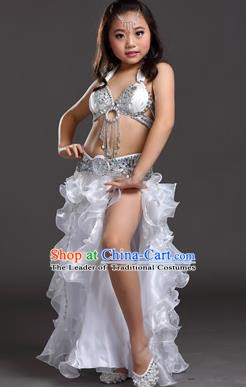 Traditional Indian Children Stage Performance White Dress Oriental Belly Dance Costume for Kids