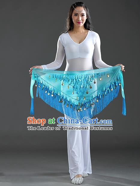 Indian Belly Dance Lake Blue Sequin Fichu Scarf Belts India Raks Sharki Waistband for Women