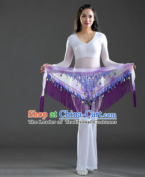 Indian Belly Dance Purple Sequin Fichu Scarf Belts India Raks Sharki Waistband for Women
