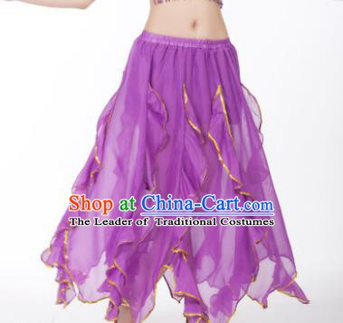 Traditional Indian Belly Dance Purple Ruffled Skirt India Oriental Dance Costume for Women