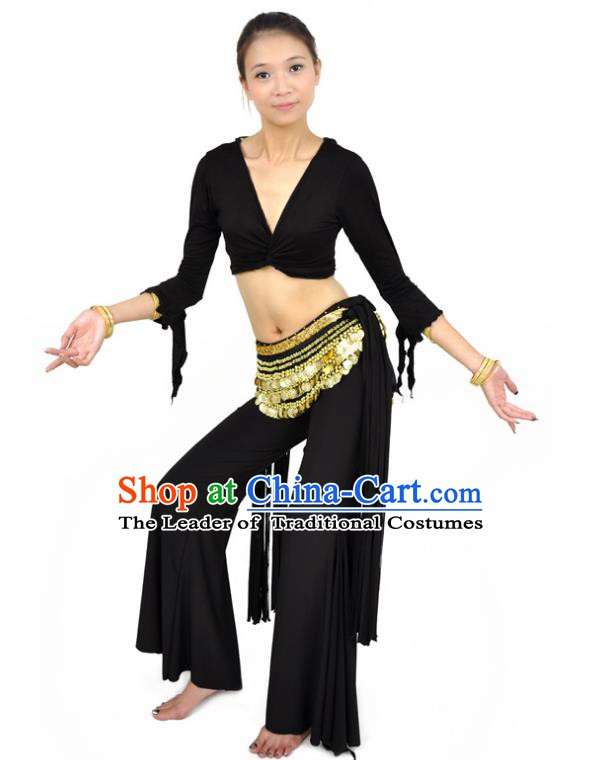 Traditional Indian Performance Dance Black Suits Belly Dance Costume for Women